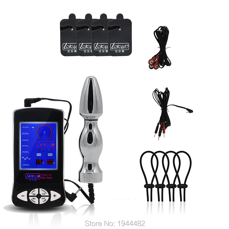 Electro Shock Set Penis Extender Adjustable Cock Ring Electro Sex Clitoris Massage Stimulate Pads Estim Vagina Anal Plug Sex Toy hot electric shock medical themed toys kit penis rings massage pad anal butt vagina plug electro shock sex toys for men couples