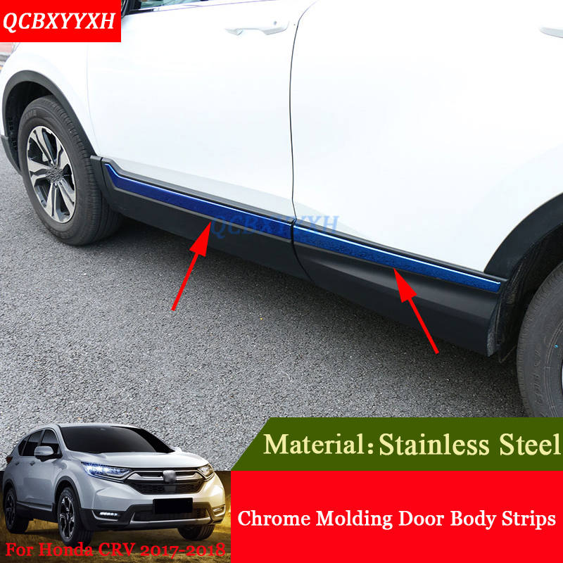 Car Styling Stainless Steel Chrome Molding Car Door Body Decoration Strips Sequins Auto Accessories For Honda CRV CR-V 2017 2018