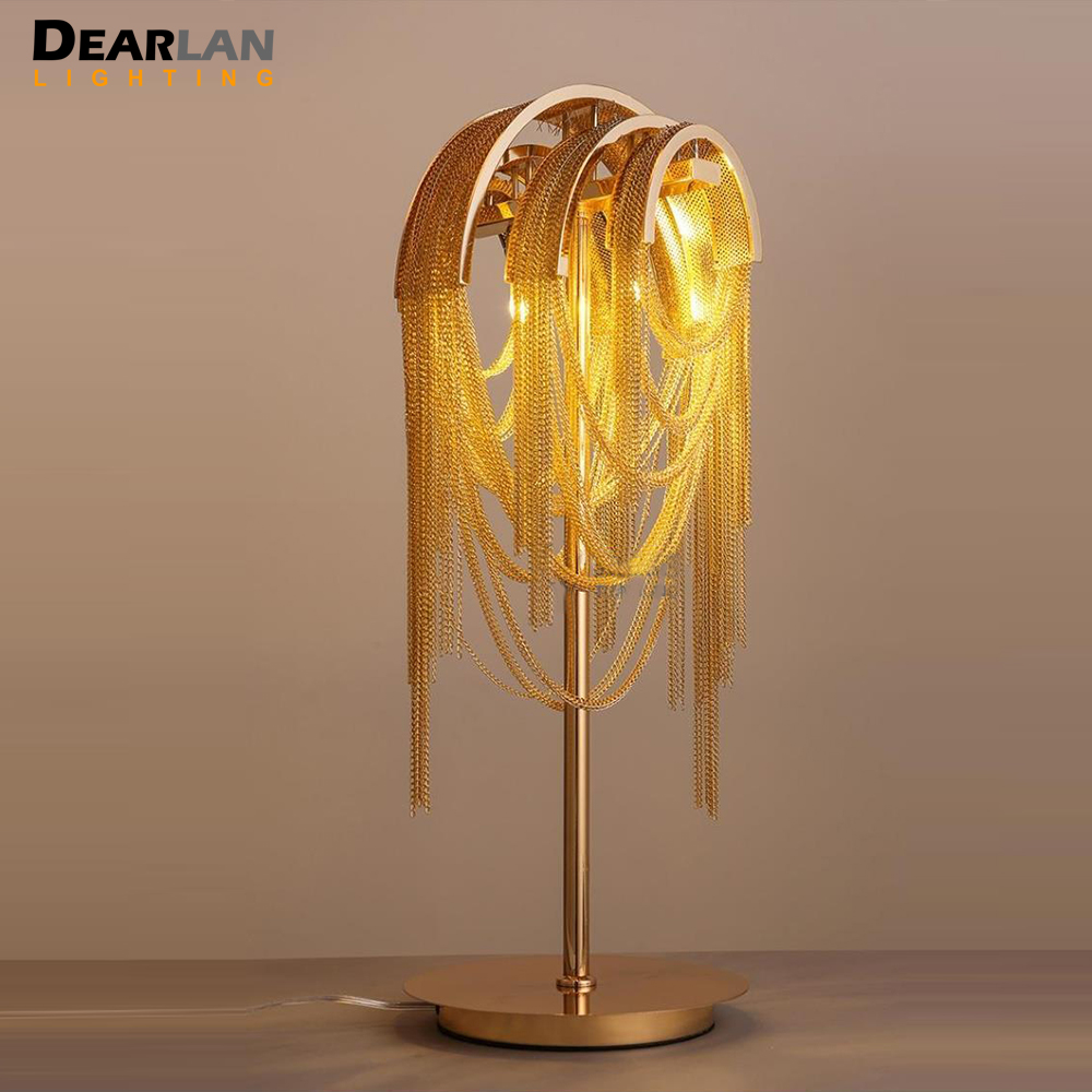 French Chain Retro Gold Color Table Light Fixture Chain Aluminum Desk Lamp Bedroom Living room Hotel Table Lustre MD83101