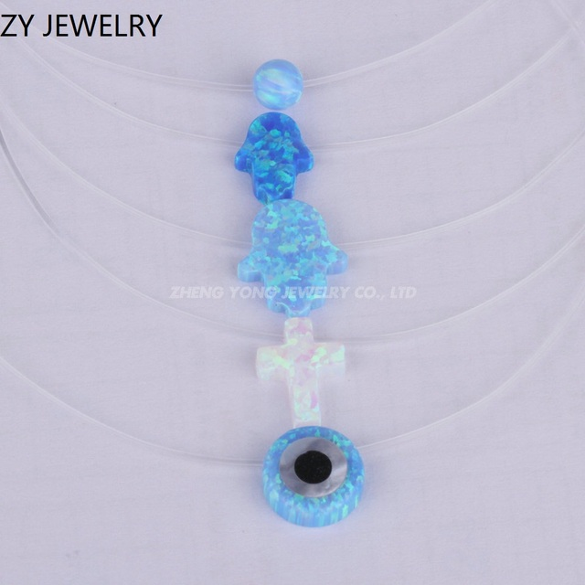 c63c49302 Hot Sale Transparent Chain White Opal Hamsa Jewelry Evil eye/ Heart/ Pear/  Cross
