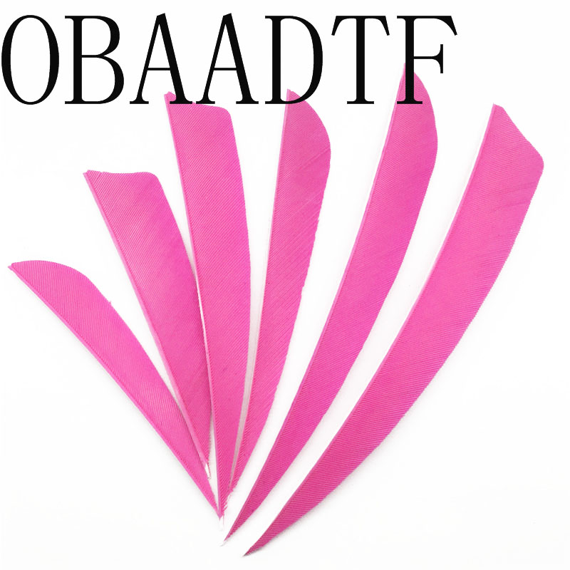100pcs Pink High Quality Water Drop Shield Cut Hunting Shooting Shape Real Feather Archery Bow Arrow Feathers Vanes in Bow Arrow from Sports Entertainment