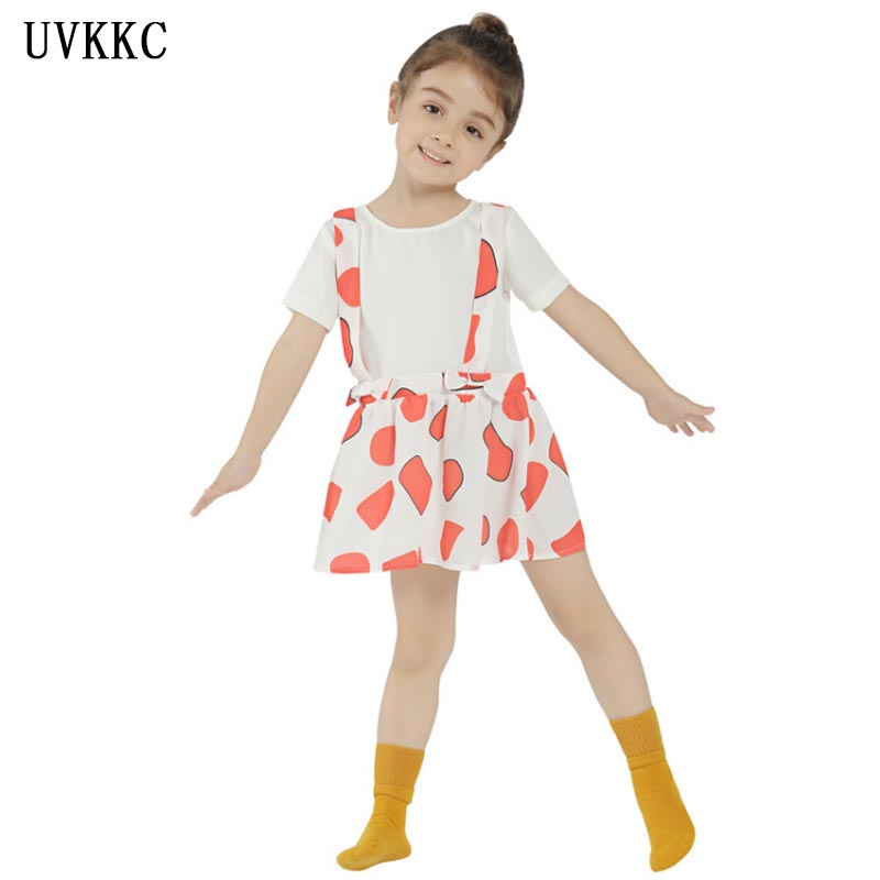 New kids Camisole white mini dress cute Hawaiian Style party dress for chilren Clothes Summer Baby girl dress Bebe for 2-6 years