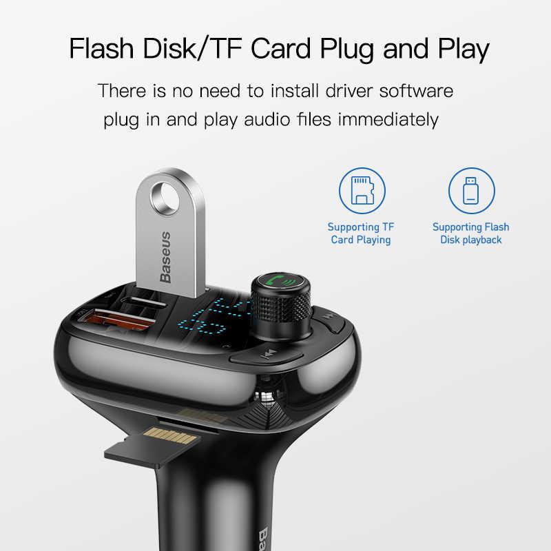 Baseus سريعة تهمة 4.0 شاحن سيارة للهاتف FM الارسال بلوتوث سيارة كيت الصوت MP3 لاعب سريع المزدوج USB سيارة الهاتف شاحن