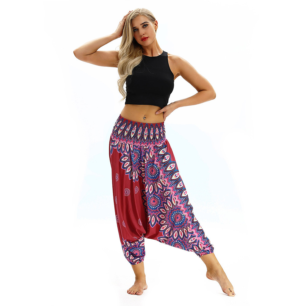 Women Men Pants Casual Woman High Waist Wide Leg Harem Trousers Baggy Boho Loose Aladdin Festival Hippy Jumpsuit Print Lady pant 104