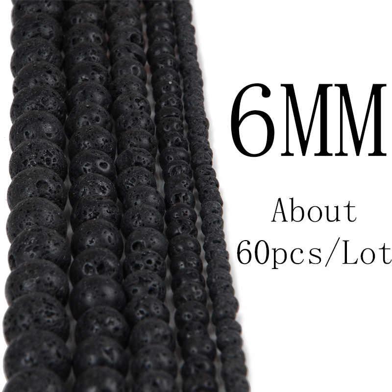 Chanfar pedras naturais negras 4 6 8 10 12mm, esferas para diy pedra natural olho de tigre pedra solta cor preta fazer pulseira colar jóias