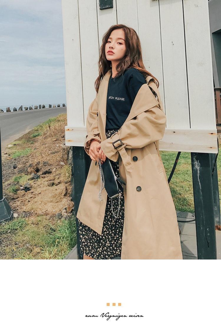 HTB1ecTALMHqK1RjSZJnq6zNLpXa4 Fashion Brand New Women Trench Coat Long Double-Breasted Belt Blue Khaki Lady Clothes Autumn Spring Outerwear Oversize Quality