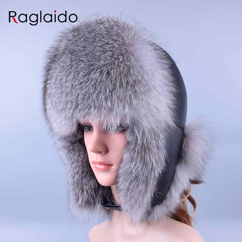 a3e0117626e Raglaido Winter hat Snow Russian Fur Hat for Women and Men Bomber Hats Real  Fur Thick
