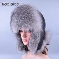 Raglaido Winter Snow Russian Fur Hat For Women And Men Bomber Hats Real Fur Thick Warm