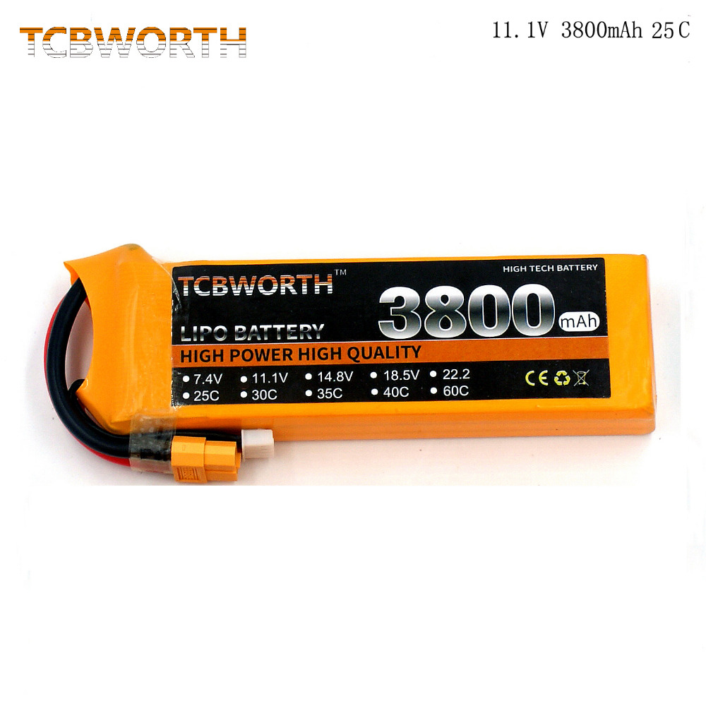 TCBWORTH RC Lipo battery 11.1V 3800mAh 25C 3S Max 50C For RC airplane quadrocopter RC car Li-ion battery 1s 2s 3s 4s 5s 6s 7s 8s lipo battery balance connector for rc model battery esc