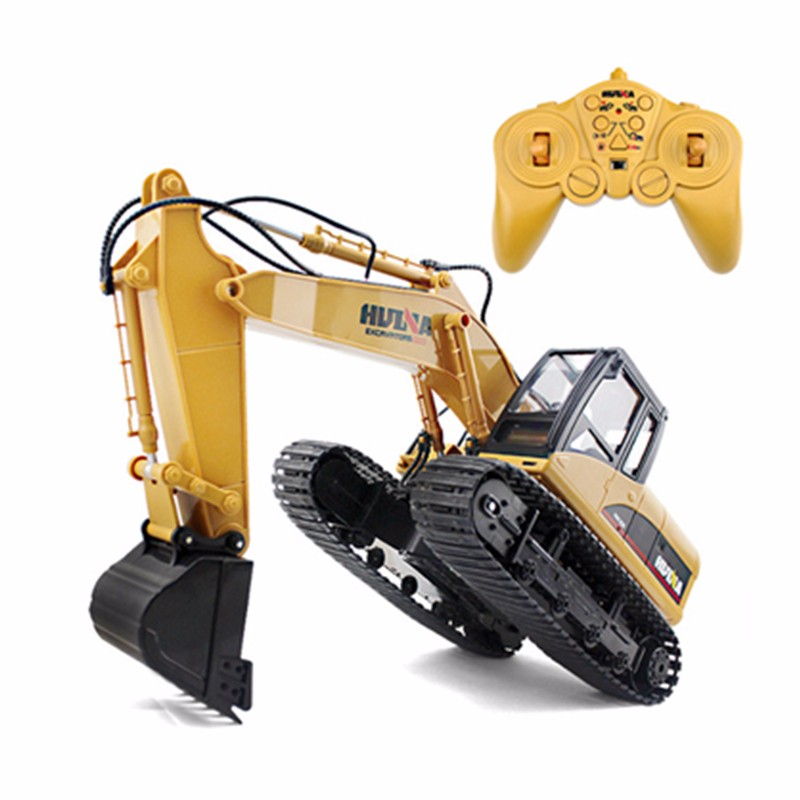 HuiNa Toys 1550 15 Channel 2.4G 1/12 RC Metal Excavator Charging 1:12 RC Car With Battery RTG allrun 12 12 12 with 12