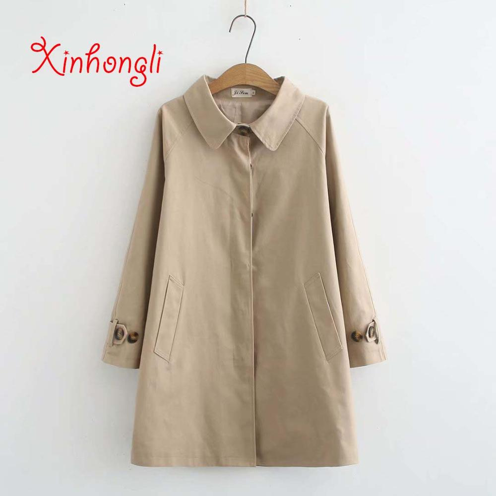 Plus size khaki black women cotton   trench   coat 2020 spring autumn NEW casual ladies Covered Button overwear female tops coats