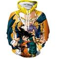Fresco Anime Dragon Ball Z Super Saiyan Goku Vegeta de bolsillo Con Capucha Sudaderas Majin Buu Imprimir Sudaderas Jerseys ropa Harajuku