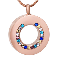 IJD8195 Crystal Coaxial Circle Stainless Steel Cremation Memorial Necklace for Ashes Urn Keepsake Souvenir Pendant Jewelry стоимость