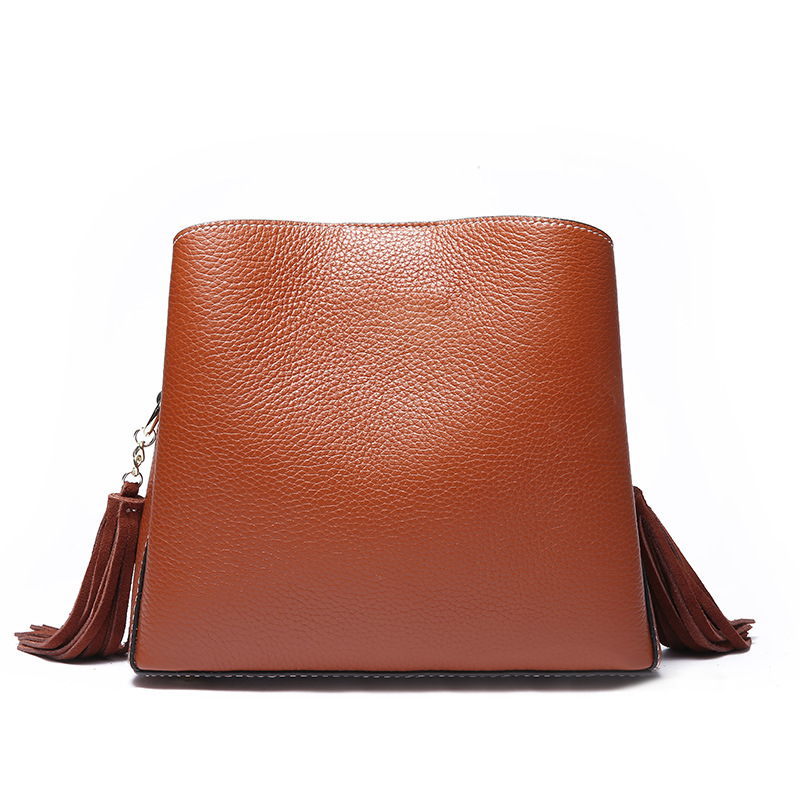 Bag Ladies Genuine Leather Tassel Handbag Real Leather Tote Bag Retro Suede Shoulder Handbag Crossbody Messenger Bags Solid