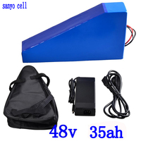 48V 35AH lithium ion battery 48V 35AH electric bike battery use sanyo cell with 50A BMS and 54.6V charger free customs free