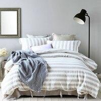 Пряжа полосой постельное белье пододеяльник устанавливает чистая белье постельное белье Король, королева twin