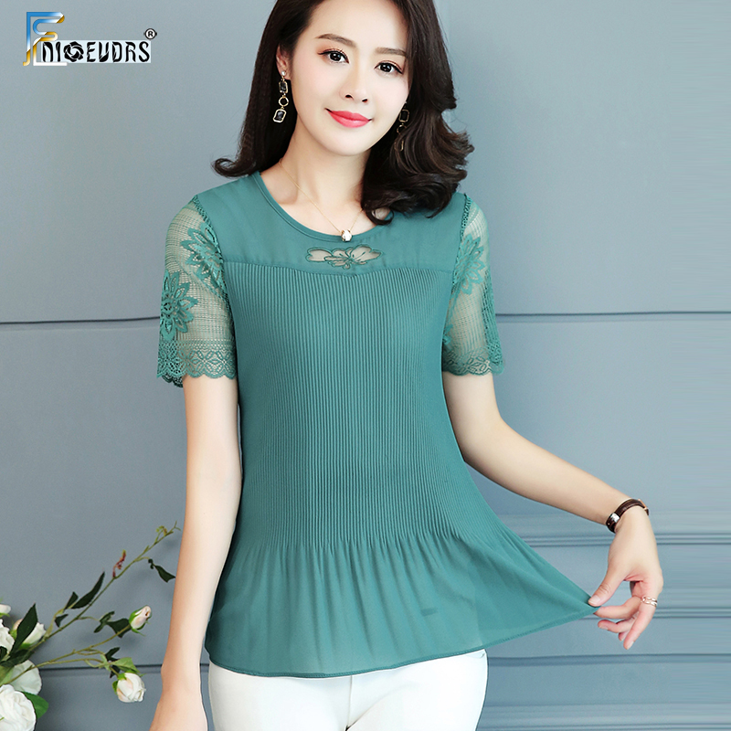 2019 Summer Top and Blouses Women Plus Size Clothes Red Green Yellow Pink Pleated Top Patchwork Lace Chiffon Peplum Top 5XL 4XL 1