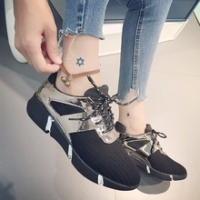 2016 New Fashion Women's Mesh Casual Shoes Lace-up Black Flat Hot Spring Autumn Womens Trainers Breathable Canvas Flats