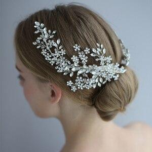 Image 3 - Повязка на голову со стразами, для свадьбы, аксессуары для волос, повязка на голову с цветами, венок из виноградных листьев, роскошный Кристальный ободок