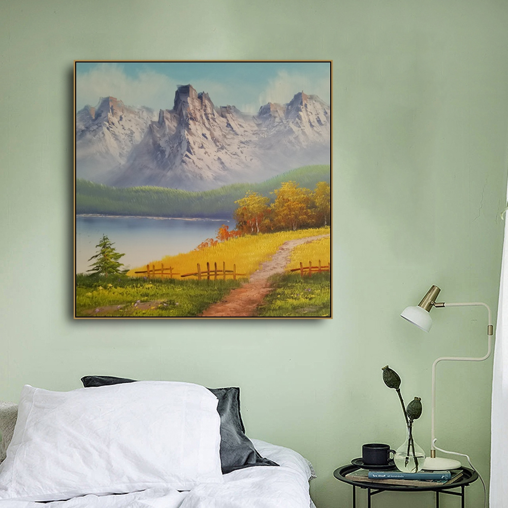 Laeacco Canvas Calligraphy Painting Natural Mountain River Posters and Prints Wall Artwork Pictures Living Room Home Decoration in Painting Calligraphy from Home Garden