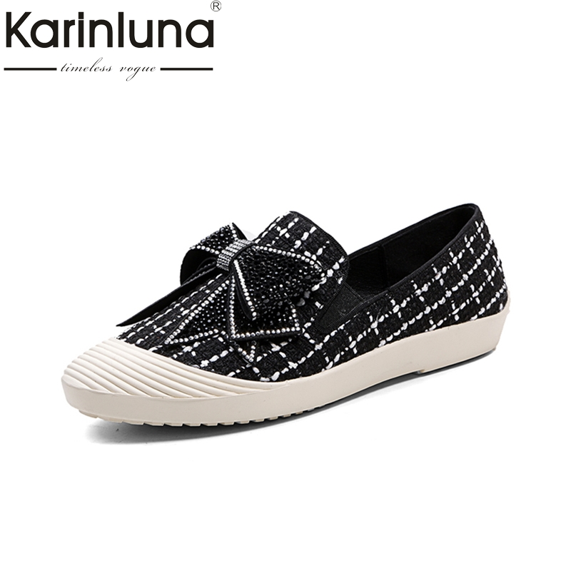 KARINLUNA Size 34-39 Spring Autumn Slip On loafers black Flat Women Shoes butterfly Shallow Mouth Ladies Platform Shoes цена