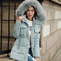 Winter Thicken Women Down Coat With Hooded Fake Fur Collar Side Slit Medium Long Section Outwear Warm Jackets Plus Size