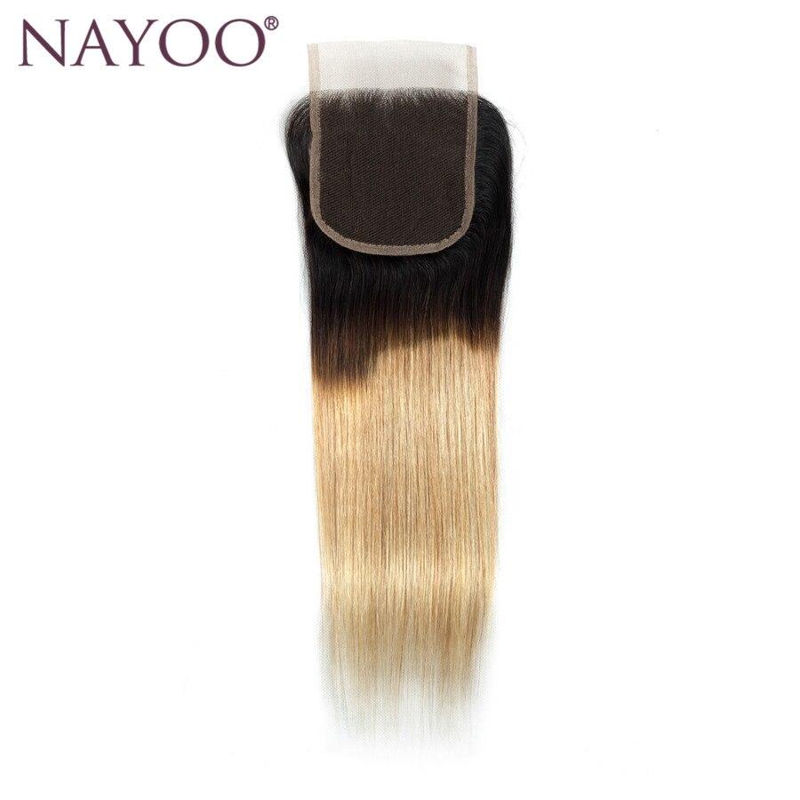 Nayoo Ombre волос Синтетическое закрытие волос 4x4 T1B/27 блондинка бесплатная Часть бразильские прямые волосы швейцарский Синтетическое закрытие ...