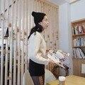 Nuevas Mujeres de Corea del Casquillo del Knit Beanie Sombrero Con Fur Winter Slouch Elástica