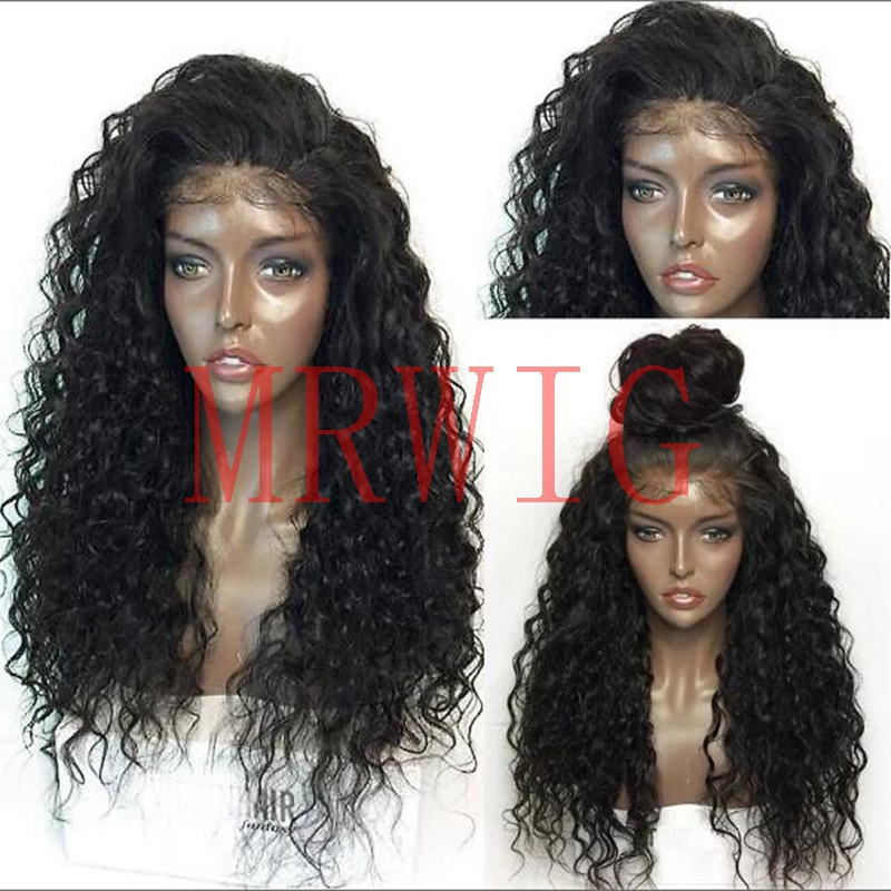 MRWIG Kinky Curly Syntetisk Glueless Front Wig Baby Hår - Syntetiskt hår