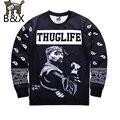 2016 Nova europa E América moda hip hop dos homens hoodies impressão Rapper Tupac 2pac 3d camisola hoodies THUGLIFE
