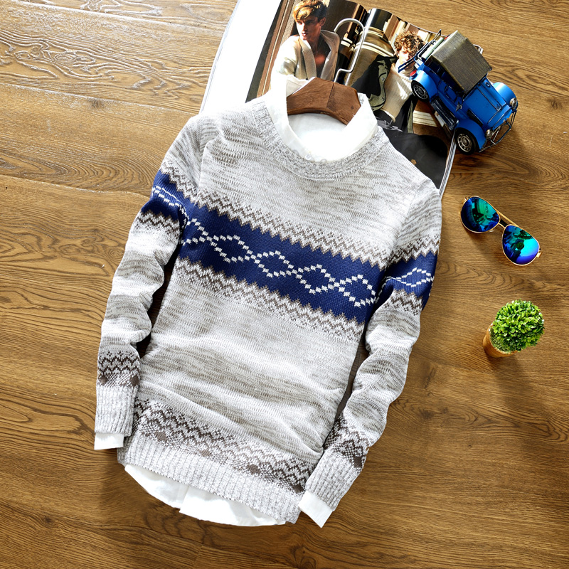 Mens Sweaters Mens Winter Casual Slim V-Neck Pullovers Fashion Striped Print Sweaters High Quality Cotton Knitting Sweaters