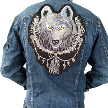 Large wolf biker patch for Jacket backing, punk motorcycle embroideried skeleton badge, skull Garment Accessory