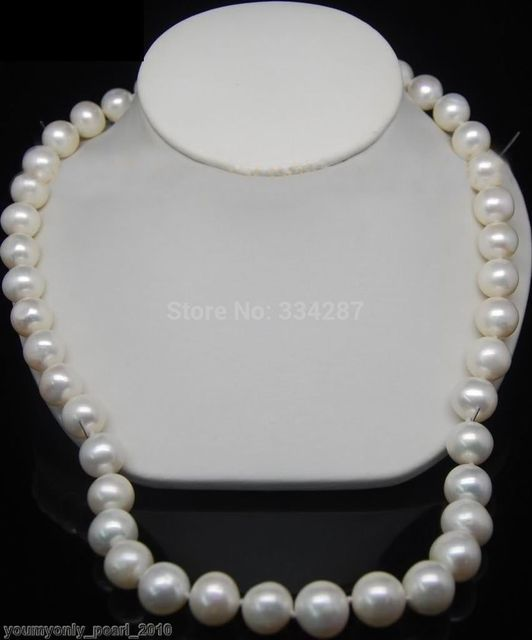 """100% Selling Picture full jewerly YG-Natural 12-13mm AA+ white pearl necklaces 18""""Long"""