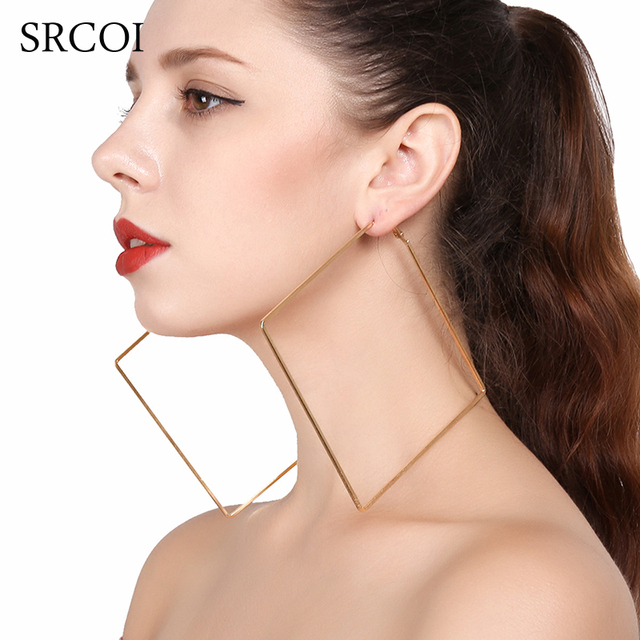b952c35ec67d7b SRCOI Oversize Big Circle Hoop Earring For Women Simple Punk Style Brincos  Round Square Earrings Simple