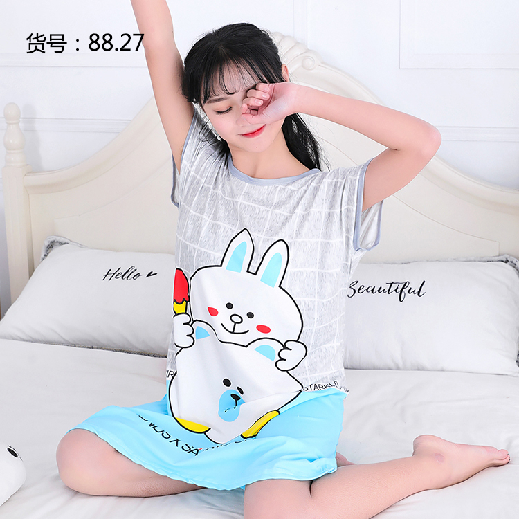 Factory Sale 2018 New Summer Womens Short Nightdress Cartoon casual homewear Nightshirt Women Sleepwear Loose Ladies Nightgown ...