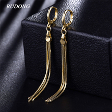BUDONG Tassel Pattern Infinity Long Dangle Earrings Gold-Color Drop EarRings Luxury Women Dangle Engagement Jewelry XUE426