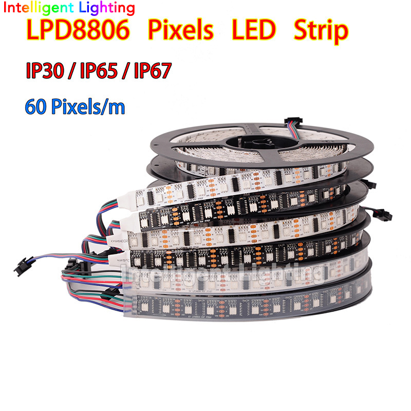 LPD8806 led strip 1m/5m 32/48/52/60 leds/m Waterproof IP30/IP65/IP67 Black/White pcb addressable RGB smd5050 strip light