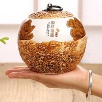 Handmade Painted Stone Shape Sealed Small Tank China Storage Bottles Jars Ceramic Storage Tanks Chinese