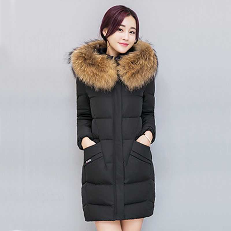 2017 New Winter Coat Women Jacket Fur Collar Hooded Women's Long thick Coat Warm Cotton Jacket Parka Casaco Plus Size DR2357 2017 winter new clothes to overcome the coat of women in the long reed rabbit hair fur fur coat fox raccoon fur collar
