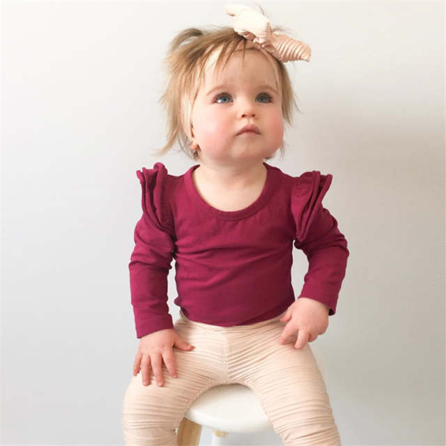 304157fdbaf8 Burgundy Baby Bodysuit Newborn Puff Long Sleeve Jumpsuit Baby Girls Ruffle  Onesie Infant Clothing Baby Girl