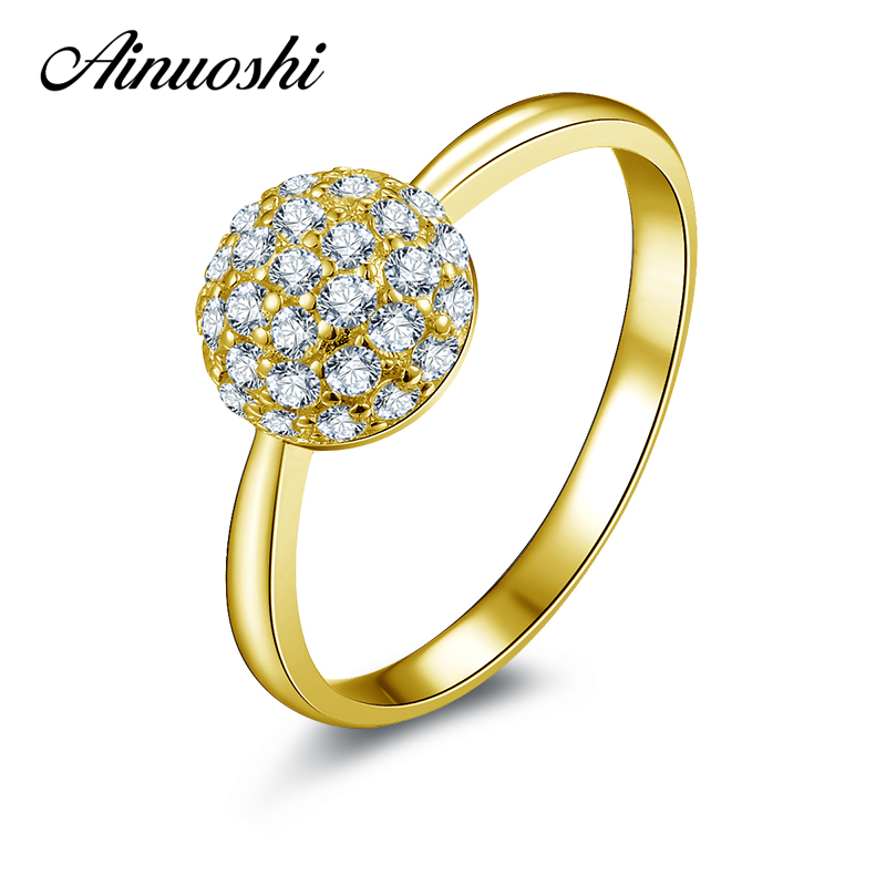 AINUOSHI 10K Solid Yellow Gold Wedding Ring Round Shaped Luxury Anel de ouro Jewelry Simulated Engagement Lover Promise RingsAINUOSHI 10K Solid Yellow Gold Wedding Ring Round Shaped Luxury Anel de ouro Jewelry Simulated Engagement Lover Promise Rings