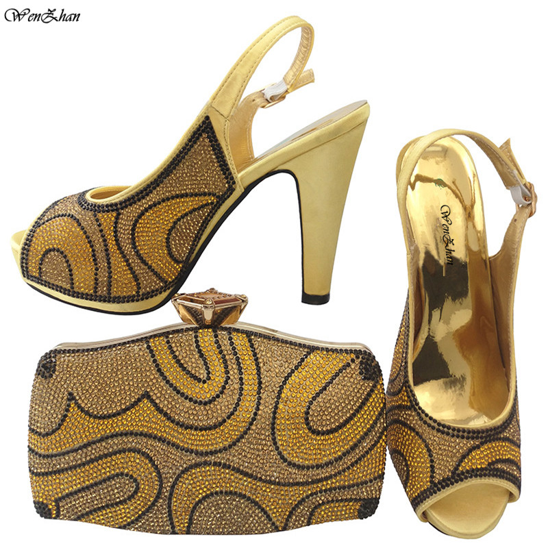 WENZHAN New Arrival Italian Shoes With Matching Bag Set Size 38-42 Fashion Stones Women Pumps Shoes and Bags Set For Party 79-25 african fashion shoes with matching bag set for wedding party italian design nigeria women pumps shoes and bags mm1060