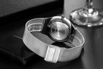 ǔ�性はシンプルなスタイルのステンレス鋼メッシュ腕時計カレン New Â�ォーツ時計男性週と日付リロイ防水 Hombre