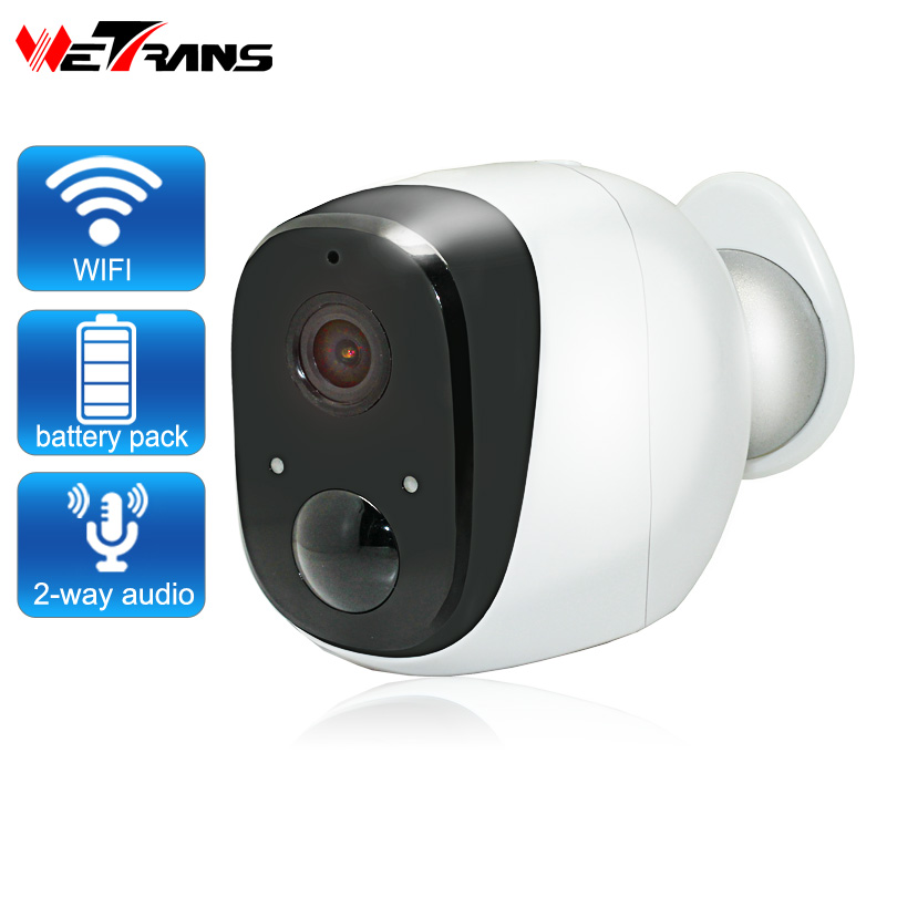 Wetrans IP Wifi Camera CCTV Security 720P HD Home Wireless Camera Wi-Fi Battery Wide Angle LED IR Night Vision Alarm Waterproof wetrans wireless camera ip wi fi light bulb hd 3mp led security smart cctv camera panoramic wi fi alarm p2p audio night vision