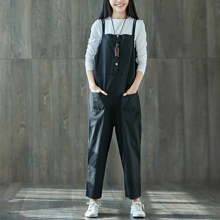 Spring 2018 New Design Women Casual Overalls Pants Braces Pockets Dungarees Stretch Romper Cotton Suspender Trousers Pants