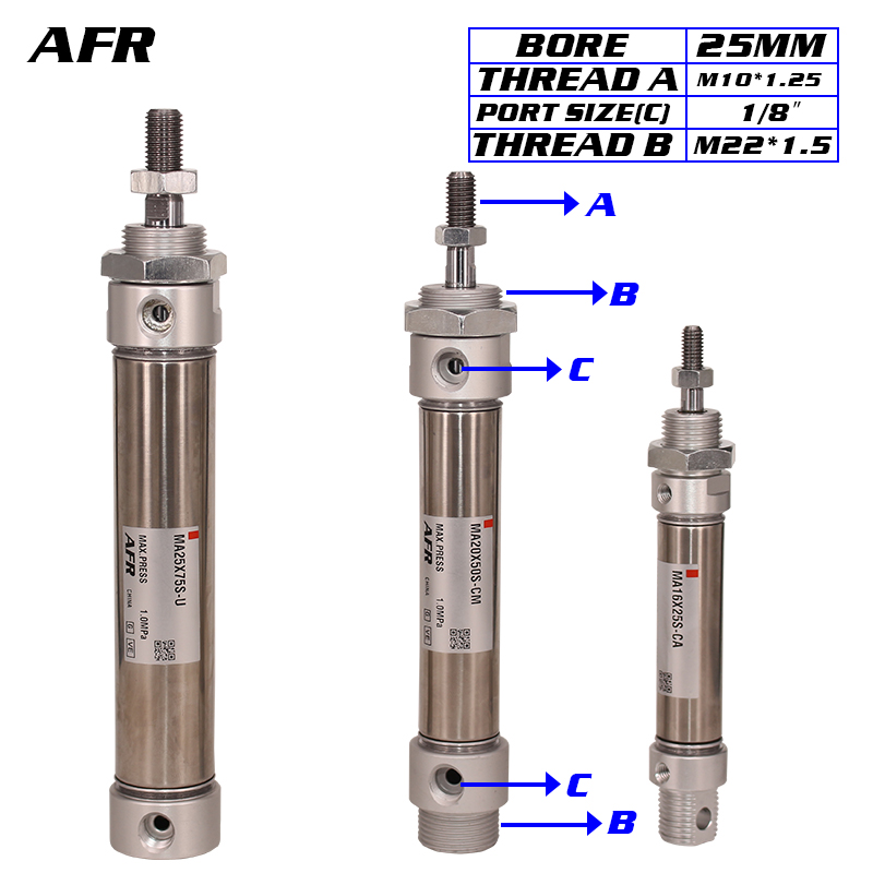 ATC Type Pneumatic Stainless Air Cylinder 25MM Bore Double Action Mini Round Cylinders MA25X150s 175S-U 200S 225S 250S 275S 300SATC Type Pneumatic Stainless Air Cylinder 25MM Bore Double Action Mini Round Cylinders MA25X150s 175S-U 200S 225S 250S 275S 300S