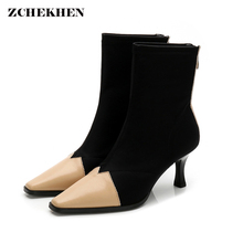 Luxury brand Women Stretch Sock Boots Pointed Toe Elastic Slip On High Heels Ankle Boots Stiletto Botas Autumn Shoes Streetwear fedonas brand socks boots women high heels round toe party weddding shoes woman autumn winter high slip on stretch boots pumps