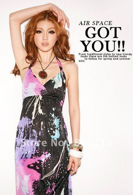 Free Shipping # 012 New Arrival 2012 Summer Water Ink Bohemian Style V-neck Silk Long Dress