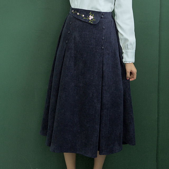 b2134597cdc6 Casual Women Long Skirts Vintage Navy Blue Corduroy Embroidery Floral Skirts  For Lady Saias Mori Girl