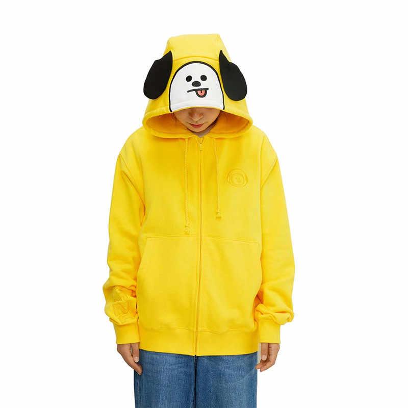 Bts Bt21 Hoodies Sweatshirt Full Zip Loose Fit Jacket Official